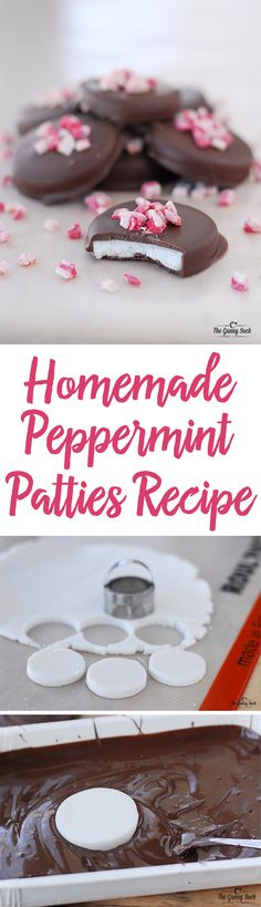 Homemade Peppermint Patties are so easy to make and more delicious than the store bought ones! Cool and minty on the inside with smooth chocolate on the outside, they are a Christmas holiday tradition in my family. Try giving some as a gift from the kitchen or sharing at a cookie exchange! Christmas Holiday, Christmas Desserts, Cool Christmas Gifts, Christmas Cookie Exchange, Christmas Cookies Unique, Holiday Cookies, Christmas Baking, Homemade Christmas Treats, Traditional Christmas Cookies
