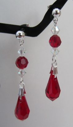 Siam Red Teardrop Earrings by MoYuenCreations on Etsy, $15.00