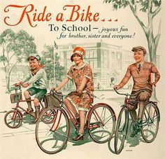 Definitely a relic from the past: 1929 ad promoting children riding their… Old Bicycle, Bicycle Race, Bicycle Girl, Old Bikes, Bike Rides, Velo Vintage, Vintage Bicycles, Vintage Ads, Bicycle Illustration