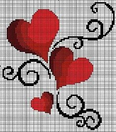 cross stitch hearts.. no color chart, just use pattern chart colors as your guide.. or choose your own colors.: