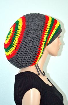 50745ca256c Crochet Rasta Tam. Unisex Dreadlocks Hat. Bob by Africancrab Marley Crochet