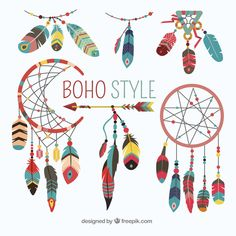 Boho element collection with flat design Free Vector Mandala Pattern, Zentangle Patterns, Mandala Design, Style Tribal, Art Tribal, Estilo Soho, Design Plat, Flat Design, Logo Design Samples