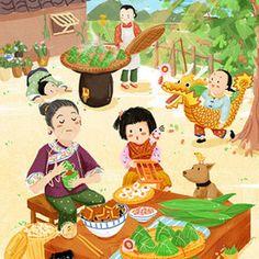 Chinese Festival, Art Festival, Children's Book Illustration, Graphic Design Illustration, Art Asiatique, Dragon Boat Festival, China Art, Environment Concept Art, Cute Wallpapers