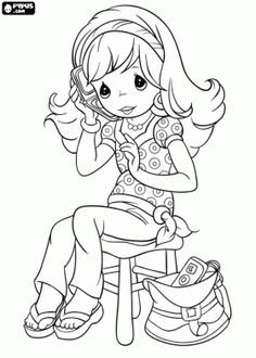 Young girl from Precious Moments sitting on a stool while talking on the cell phone coloring page