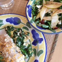Voila! Dinner is served (baked cod with spinach and arugula, pear and blue cheese salad)