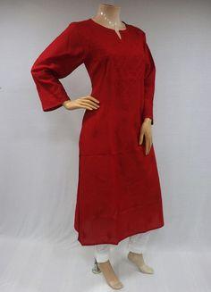 ISHIEQA's Red Cotton Chikankari Kurti – MV0101E Kurtis, Cold Shoulder Dress, High Neck Dress, Saree, India, Pure Products, Silk, Cotton, How To Make