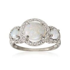 .20 ct. t.w. Diamond and Three-Stone Opal Ring in Sterling Silver