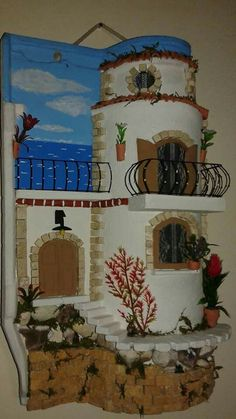 Tile Crafts, Clay Crafts, Fun Crafts, Diy And Crafts, Clay Fairy House, Fairy Houses, Miniature Houses, Miniature Dolls, Clay Pots