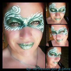 Teardrops, swirls an curls glittery green mask facepaint