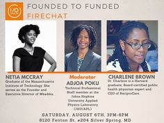 FoundedToFunded : Black Women In Tech FireChat, sponsored by I/O Spaces, will be held on Saturday, August 6, 2016 from 3:00PM to 6:00PM in Silver Spring, MD. Netia McCray, Founder of Mbadika, and Dr. Charlene Brown, Co-Founder and CEO at ReciproCare, will be the featured guest speakers. Tickets are only $10! Please visit http://iospaces.com/…/foundedtofunded-black-women-tech-fir…/ to register today.