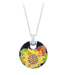 Sunflower Black Pendant by Belle Etoile. Fashion Jewelry. Spring.