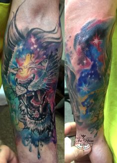 Lion watercolor colorful forearm tattoo.  Tatuaggio leone aquarelle avambraccio.  Ars Nova tattoo.