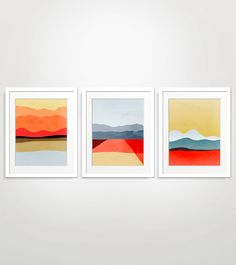 red abstract wall art set