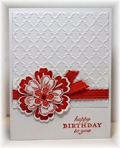 handmade bithday card from Scrappin' and Stampin' in GJ .. red and white ... gorgeous layer flower ... pretty layout ... Stampin'Up!