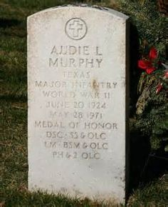 Grave Marker- Audie Murphy, actor (Whispering Smiths). On June 7, 1971, Murphy was buried with full military honors at Arlington National Cemetery. The official U.S. representative at the ceremony was decorated World War II veteran and future President George H.W. Bush. Murphy's grave site is in Section 46, headstone number 46-366-11, located across Memorial Drive from the Amphitheater.
