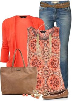 Coral cardigan with printed tank top ~ easy-mom on-the-go outfit - i love these colors! ( I already have a coral cardigan) Cardigan Coral, Coral Jeans, Coral Jacket, Polyvore Outfits, Polyvore Casual, Mode Outfits, Fall Outfits, Outfit Winter, Casual Summer Outfits With Jeans