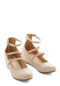 Triple the Cute Wedge. Take the charm of a classic Mary Jane and multiply it by three. #cream #wedding #modcloth