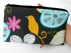 Large Zipper Pouch Cosmetic Bag ECO Friendly Padded  Yellow Birdie by JPATPURSES, $16.00