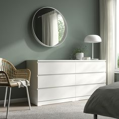 IKEA - MALM, Chest of 6 drawers, white, Of course your home should be a safe place for the entire family. That's why a safety fitting is included so that you can attach the chest of drawers to the wall. Smooth running drawers with pull-out stop. White Chest Of Drawers, White Chests, Commode Malm Ikea, Ikea Mirror, Wall Mirrors, Ikea Family, Drawer Fronts, Dresser Drawers, White Cabinets