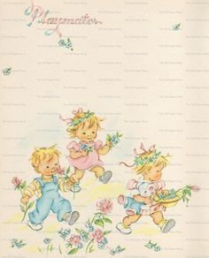 """""""playmates"""" page from vintage baby book"""