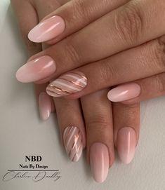 Gel Nail Designs, Beach Nail Designs, Gold Acrylic Nails, Natural Acrylic Nails, Pink Nail Art, Glitter Nail Art, Peach Nails, Pink Nails, Trendy Nails