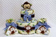 Baby Diaper Cake Mini 2 Tier & 2 Burp Cloth Stork Bundles Monkey Theme Shower Gift or Centerpiece