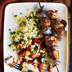 Chicken Kebabs and Nectarine Salsa. With food allergies and food intolerances, there are too many ingredients I'd have to substitute to make this recipe work for me, YET this picture inspired some clean eating recipe ideas that would look and taste just as delicious AND be just right for me! Cooking Light's 20 Clean Eating Recipes for Weeknights: http://www.cookinglight.com/eating-smart/smart-choices/clean-eating-recipes/chicken-kebabs-nectarine-salsa-1   healthy cooking, healthy dinner…