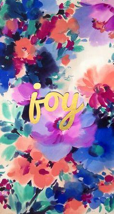 Pink blue mint gold watercolour floral Joy iphone phone wallpaper background…