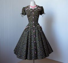 1940 Vintage Clothing | vintage 1940's dress ...cutest ever KENROSE ditsy calico floral full ...