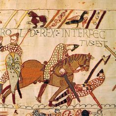 """October Norman Duke """"William the Conqueror"""" defeated and killed King Harold II of England at the Battle of Hastings. He claimed the English throne to become the first of the Norman Kings. Bayeux Tapestry, Medieval Tapestry, Medieval Knight, Medieval Art, Medieval Weapons, Hastings 1066, Vikings, William The Conqueror, Early Middle Ages"""