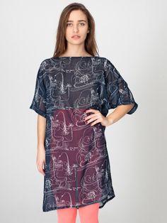 #AMERICANAPPAREL #PINATRIPWITHAA Illustrated Chiffon T-Shirt Dress
