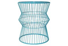 Wire End Table, Turquoise