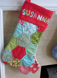 hexagon stocking - I really like the one I have, but it's tempting to do something like this with some of my favorite fabric scraps.