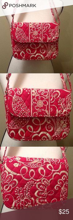 Vera Bradley Crossbody Handbag Fuchsia Pink White Beautiful crossbody bag by Vera Bradley, like-new condition, fuchsia pink color with bright white patterns, shoulder strap is adjustable, front snap closure, zipper pocket on inside.  Approximate measurements: 8.5 in long, 6.6 in tall, 2-4 in wide when stretched. Perfect bag for spring and summer! Vera Bradley Bags Crossbody Bags