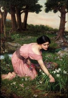 Beautiful Waterhouse painting of Flora, the Roman Goddess, of blossoming flowers and springtime