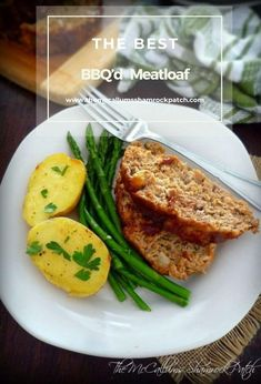 The Best BBQ'd Meatloaf has a delicious hint of smokey Kansas City Style. BBQ sauce, lean ground beef, ground turkey, mild ground sausage, celery, onions, and Parmesan cheese combined with herbs and spices A Food, Good Food, Food And Drink, Yummy Food, Ground Sausage, Ground Beef, Lunches And Dinners, Meals, Meatloaf