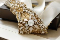 Vintage inspired Gold Bridal sash - Alba Gold (Style - S55)