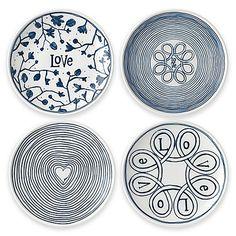 "ED Ellen DeGeneres Crafted by Royal Doulton® 4-Piece ""Love"" Mini Tapas Plates Set in Blue"
