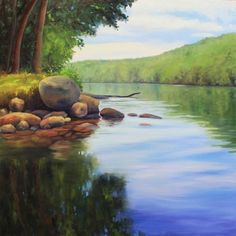 Summer Light - River Rocks on the Hudson River Large oil Painting -- Takeyce Walter
