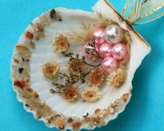 Seashell Beach Ornament with Pearl Beads and Dried Flowers, Christmas Ornament