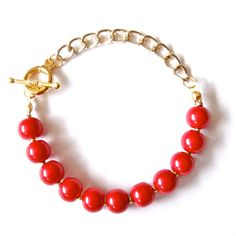 Poppy Red Pearl Bracelet Ruby Red Glass Pearls by TheFelicityStore