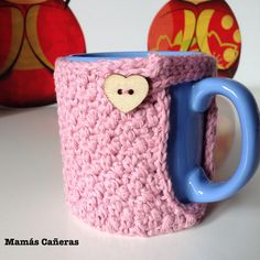 Funda taza a crochet - Cover for cup Ideas Para, Tapestry, Mugs, Tableware, Cover, Cotton, Craft, To Sell, The Creation