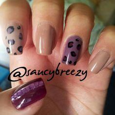 #animalprint #nails on nude and purple #nailpolish