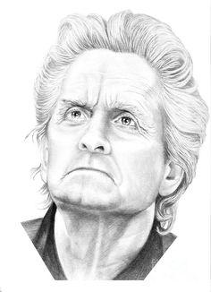 Michael Douglas by Murphy Elliott ~ traditional pencil art