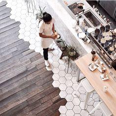 Home Coffee Stations Ideas site Küchen Design, Floor Design, Tile Design, House Design, Transition Flooring, Tile To Wood Transition, Home Coffee Stations, Shop Interior Design, House Goals