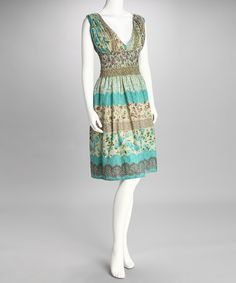 Take a look at this Brown & Blue Floral Dress by Flowy Favorites: Women's Dresses on #zulily today!