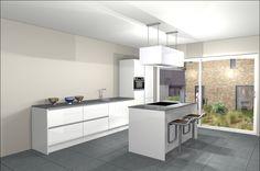Afbeeldingsresultaat voor moderne keuken met kookeiland wit