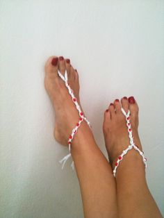 Wedding white and red beads macrame Foot jewelry Anklet, Nude shoes, Foot jewelry, Wedding, Victorian Lace, Sexy, Lolita, Yoga, Anklet