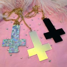Silver Confetti Acrylic Inverted Cross Necklace by imyourpresent, $14.00