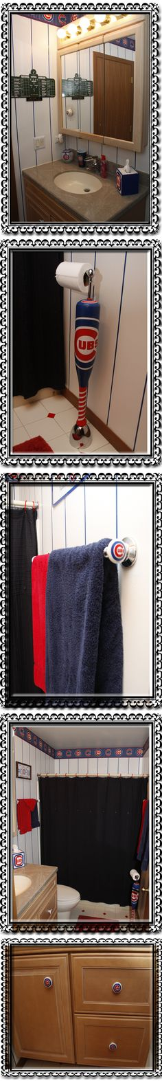 This is our Chicago Cubs bathroom.To theme it up I painted the walls white and then added blue automotive pinstripe tape. The top of the walls is capped with a Cubs wallpaper border. The TP holder is an Umbro freestanding unit with a drilled toy soft plastic Cubs bat over the vertical pipe. The cabinet and towel bars were retro-fitted with Cubs drawer pulls to add to the room. Other additions are a plastic canvas Cubs kleenex cover, Cubs cup, Cubs soap and a Cubs Candle.